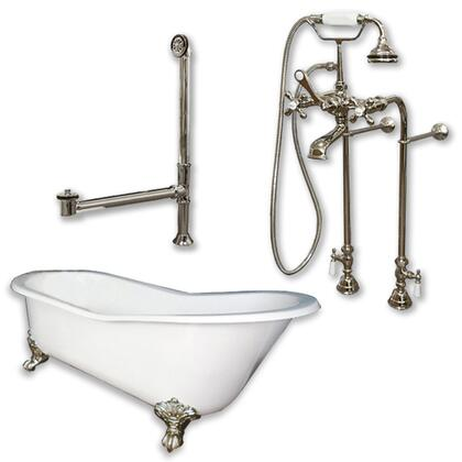 "Cambridge ST61398463PKG Cast Iron Slipper Clawfoot Tub 61"" x 30"" with No Faucet Drillings and Complete Free Standing British Telephone Faucet and Hand Held Shower Package"