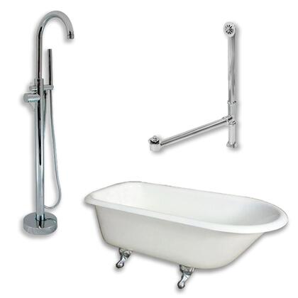 "Cambridge RR55150PKG Cast Iron Rolled Rim Clawfoot Tub 55"" x 30"" with no Faucet Drillings and Complete Modern Freestanding Tub Filler with Hand Held Shower Assembly Plumbing Package"