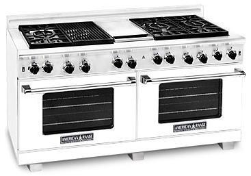 "American Range ARR6062GRW 60"" Heritage Classic Series Gas Freestanding Range with Sealed Burner Cooktop, 4.8 cu. ft. Primary Oven Capacity, in White"