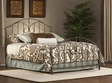 Hillsdale Furniture 1002B Zurick Panel Bed Set with Rails Included, Vertical Bar Pattern and Tubular Steel Construction in Astroid Pewter Color