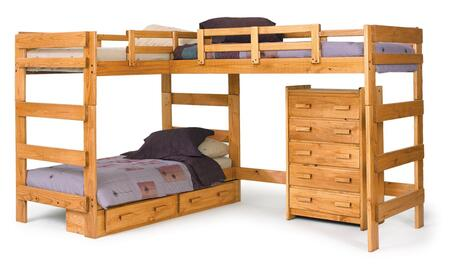 Chelsea Home Furniture 3662008X L Shaped Loft Bed, with Pine Construction, Rustic Style, and Optional Accessories, in Honey