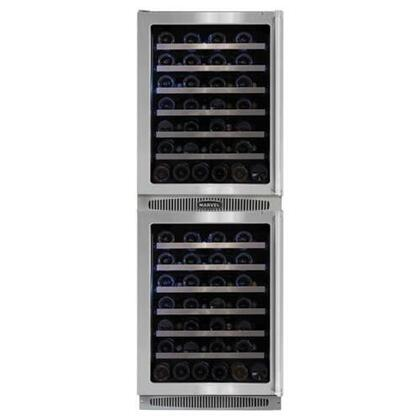 "Marvel MPRO66WCM-BS-G-L Professional 24""W Double Wine Cellar: Stainless Steel Frame Glass Doors"