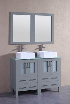"""Bosconi AGR224CBECWGX XX"""" Double Vanity with Clear Tempered Glass Top, Square White Ceramic Vessel Sink, F-S02 Faucet, Mirror, 4 Doors and X Drawers in Grey"""