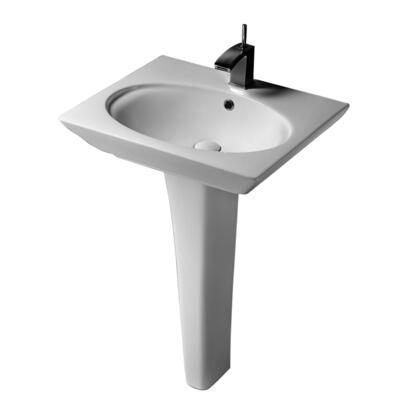 "Barclay 3-37WH Opulence Pedestal Lavatory, with Oval Bowl, 4.5"" Basin Depth, and Vitreous China Construction, in White"