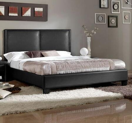 Wholesale Interiors Baxton Studio OSIM Moderne Modern Platform Bed with Deep-Padded Headboard, Faux Leather Upholstery, Hardwood and Plywood Frame