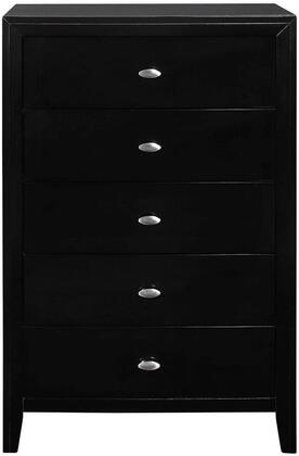 """Global Furniture USA Carolina Collection CAROLINA-X-CH 32"""" Chest with 5 Drawers, Clean Line Design, Decorative Metal Pull Knobs and Okoume Veneer Finish in"""