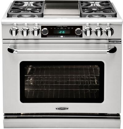 """Capital Precision Series CSB362G2-X 36"""" Freestanding Dual Fuel Self-Cleaning Range with 4 Sealed Burners, 4.6 Cu. Ft. Capacity, Moto-RotisExclusive Moist Assist, in Stainless Steel"""