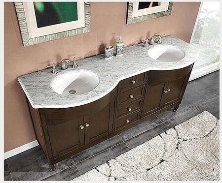 "Silkroad Exclusive HYP-0717-X-UWC-72 72"" Double Sink Cabinet with 6 Drawers, 4 Doors, Top and Undermount White Ceramic Sink (3-Hole) in Espresso Finish"