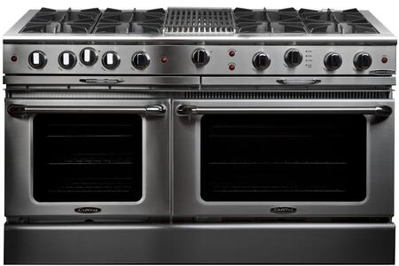 "Capital Culinarian Series CGSR604B4-X 60"" Freestanding X Range with 8 Open Burners, Primary 4.6 Cu. Ft. Oven Cavity, Secondary 3.1 Cu. Ft. Oven Capacity, and Dual Convection Air Flow, in Stainless Steel"