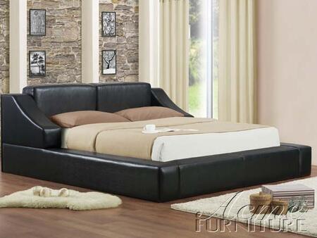 Acme Furniture 2028 Franco Black PU Platform Bed: