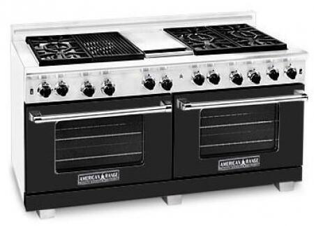 American Range ARR6062GDLBK Heritage Classic Series Liquid Propane Freestanding Range with Sealed Burner Cooktop, 4.8 cu. ft. Primary Oven Capacity, in Black