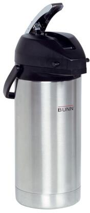 Bunn-O-Matic 36725.0x00 1Gal Lever Action Airpot Portable Server With Lever Action, Stainless Steel Airpot Liner, Black Cover Lid, in Stainless Steel