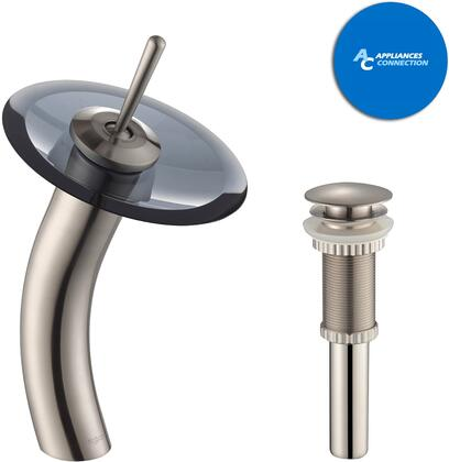 Kraus KGW1700PU10SN Waterfall Series Bathroom Vessel Lever Waterfall Faucet with Solid Brass Construction, Top-Quality Cartridge, and Matching Pop-Up Drain, Satin Nickel Finish