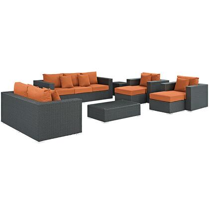Modway Sojourn Collection EEI-1881-CHC- 9-Piece Outdoor Patio Sunbrella Sectional Set with Loveseat, Sofa, Rectangle Ottoman, 2 Armchairs, 2 Ottomans and 2 Side Tables in