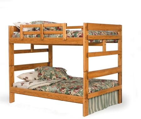 Chelsea Home Furniture 362654 Full Over Full Bunk, with Pine Construction, Guard Rails, Rustic Style, and Stain Finished in Honey