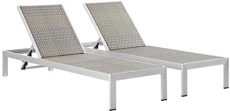 "Modway EEI2477SLVGRYSET 76"" Lounge Chair"