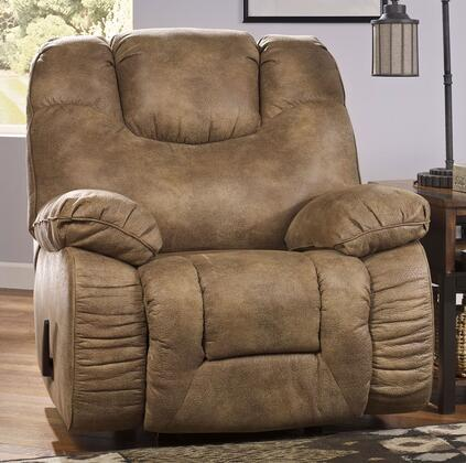 Signature Design by Ashley Tahanee 26400XX X Rocker Recliner with Plush Padded Arms, Supportive Back Cushion with Head Rest and Storage Space Inside Arm in Brownstone