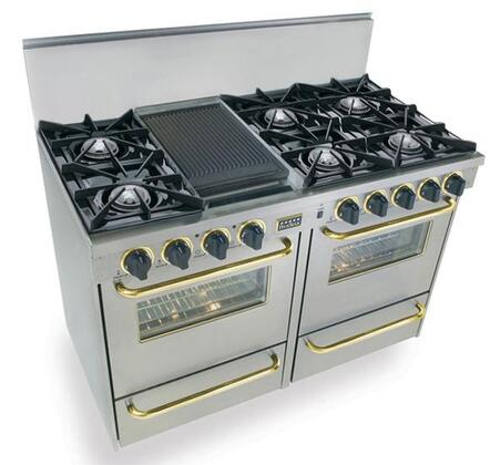 """FiveStar TTN5107BSW 48""""  Stainless Steel with Brass Gas Freestanding Range with Open Burner Cooktop, 2.92 cu. ft. Primary Oven Capacity, Broiler"""