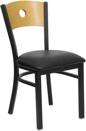 "Flash Furniture HERCULES Series XU-DG-6F2B-CIR-XXV-GG 19"" Heavy Duty Circle Back Metal Restaurant Chair with Natural Wood Back, 18 Gauge Steel Frame, Welded Joint Assembly, and Plastic Floor Glides"
