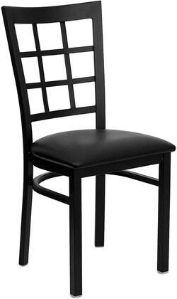 "Flash Furniture HERCULES Series XU-DG6Q3BWIN-XXV-GG 20"" Heavy Duty Window Back Metal Restaurant Chair with Vinyl Seat, Commercial Design, 18 Gauge Steel Frame, and Plastic Floor Glides"