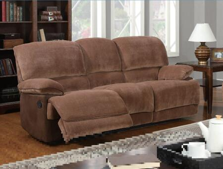 Global Furniture USA U9968ChmpBrSugarMF101S  Reclining Fabric Sofa