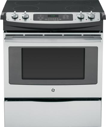"""GE JS630SFSS 30""""  Slide-in Electric Range with Smoothtop Cooktop, 4.4 cu. ft. Primary Oven Capacity, Storage in Stainless Steel"""