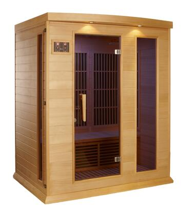 "Maxxus MX-K306-01 75"" Low EMF Far Infrared Sauna with 3 Person Capacity, 7 Carbon Heating Elements, Chromotherapy Lighting, LED Control Panels, SD and USB Connection"