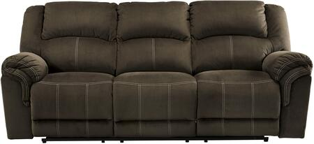 """Signature Design by Ashley 950778 Quinnlyn 89"""" Reclining Sofa with Jumbo Stitching, Metal Frame and Fabric Upholstery in Coffee Color"""