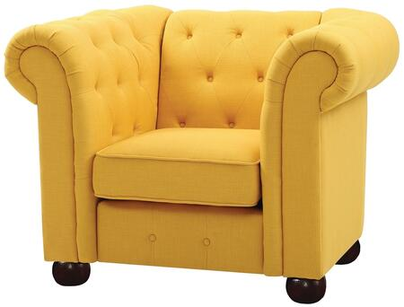 Global Furniture G497C Yellow Faux Leather Armchair with Wood Frame