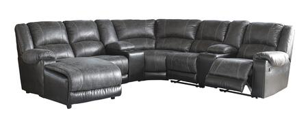 Milo Italia Felicity MI-2154CTMP 7PC Sectional Sofa with X Chaise, 2 Storage Consoles, Armless Chair, Wedge, Armless Recliner and X Zero Wall Recliner in Slate