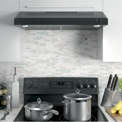 """GE JVX5305 30"""" Under Cabinet Convertible Hood with 240 CFM Venting System, 2 Speeds, Vertical and Rear Exhaust and Dual LED Lighting"""