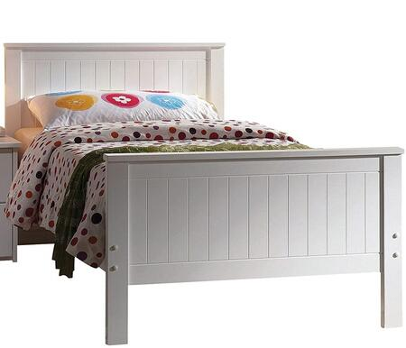 Acme Furniture 300B Bungalow Panel Bed with Shaped Tops, Mission Style Headboard and Footboard in White Finish