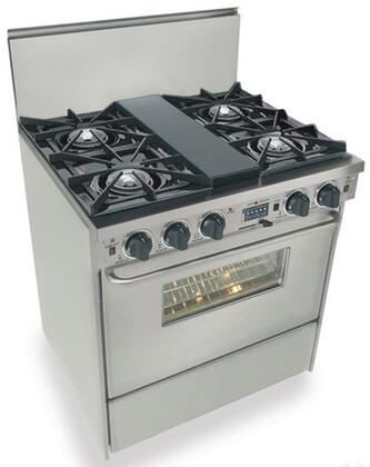 """FiveStar TTN275BW 30""""  Stainless Steel Dual Fuel Freestanding Range with Open Burner Cooktop, 3.69 cu. ft. Primary Oven Capacity,"""