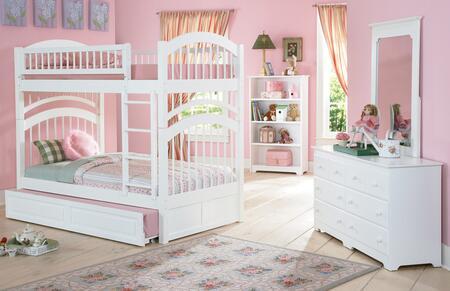 Atlantic Furniture YBBWINDSORTWINTWINWH Windsor Series  Twin Size Bunk Bed