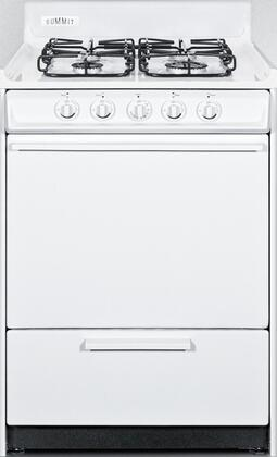 "Summit WTM6107Sx 24"" Gas Range with 4 Sealed Burners, 2.92 cu. ft. Oven Capacity, Broiler Compartment, Porcelain Construction and Electronic Ignition, in White"