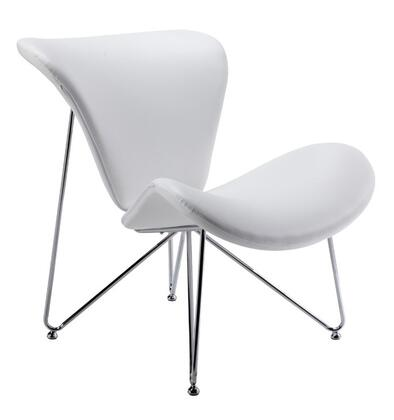 VIG Furniture VGOBTY105WHT Modrest Decatur Series Armless Metal Frame Accent Chair