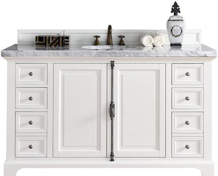 """James Martin Providence Collection 238-105-V60S-CWH- 60"""" Cottage White Single Vanity with Plantation Style Hardware, Two Soft Close Doors, Six Soft Close Drawers and"""