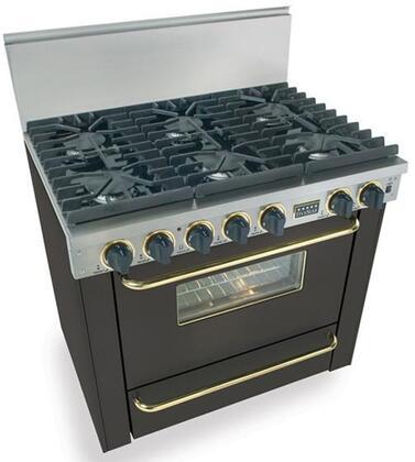 "FiveStar TPN3117SW 36""  Black with Brass Gas Freestanding Range with Sealed Burner Cooktop, 3.69 cu. ft. Primary Oven Capacity, Broiler"