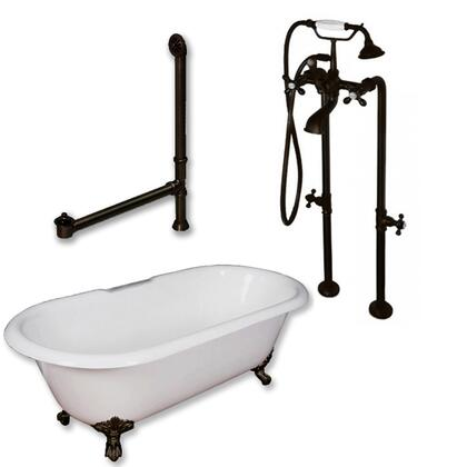 "Cambridge DE67398463PKG Cast Iron Double Ended Clawfoot Tub 67"" x 30"" with No Faucet Drillings and Complete Plumbing Package"