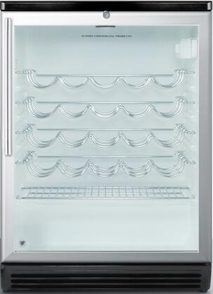 """Summit SWC6GxLBIHV 24"""" Freestanding or Built In Wine Cooler with 5.5 cu. ft. Capacity or 36 Bottle Capacity, Commercially Approved, Adjustable Thermostat, Door Lock and Double Pane Tempered Glass Door, in"""