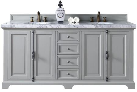 """James Martin Providence Collection 238-105-V72-UGR- 72"""" Urban Gray Double Vanity with Plantation Style Hardware, Four Soft Close Doors, Three Soft Close Drawers and"""