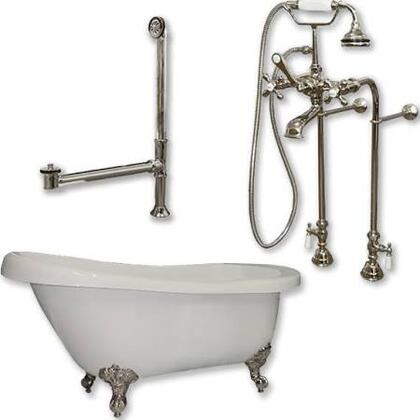 "Cambridge AST67398463PKG Acrylic Slipper Bathtub 67"" x 30"" with no Faucet Drillings and Complete Plumbing Package"
