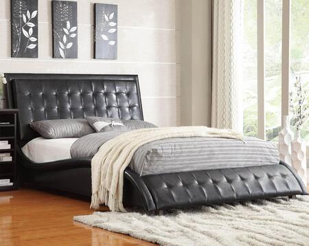 Coaster 3003 Tully Upholstered Queen Size Bed with Button Tufting Headboard, Curved Side Rails and Matching Soft Leather-Like Vinyl in