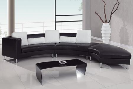 Global Furniture USA 919R2VBLWHSEC  Leather Sofa