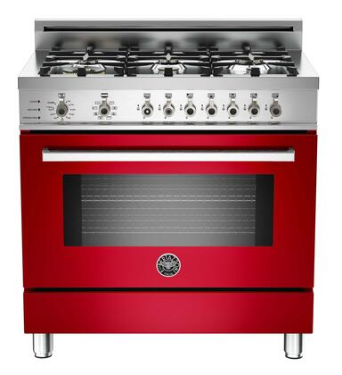 """Bertazzoni PRO366DFSRO 36"""" Professional Series Dual Fuel Freestanding Range with Sealed Burner Cooktop, 4.0 cu. ft. Primary Oven Capacity, in Red"""