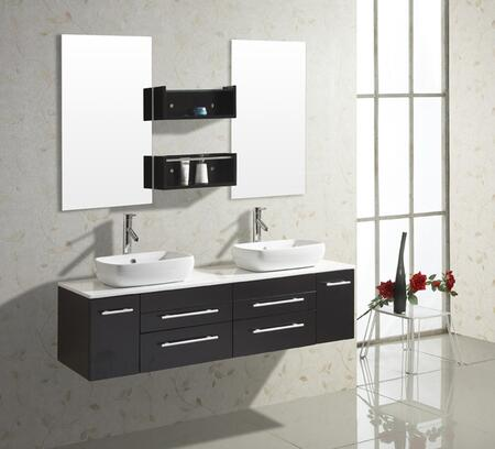 "Virtu USA Augustine UM-3051-S-ES 59"" Double Sink Bathroom Vanity in x with Mirrors, 2 Doors, 4 Doweled Drawers and PS-104 Faucets with Pop Up and Drain Assembly Included"