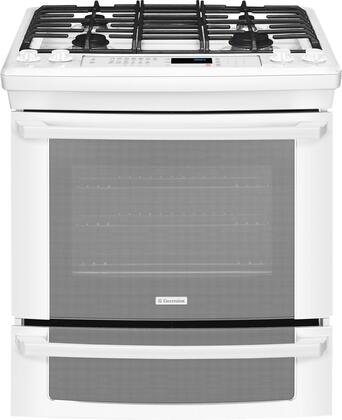 """Electrolux EI30DS55LW 30"""" IQ-Touch Series Slide-in Dual Fuel Range with Sealed Burner Cooktop Warming 4.2 cu. ft. Primary Oven Capacity  Appliances Connection"""