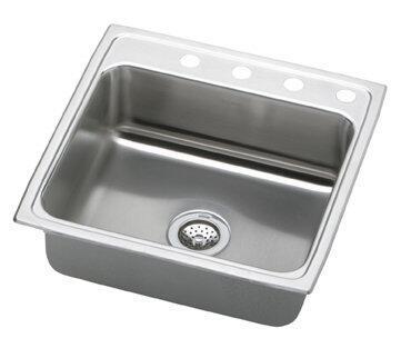 """Elkay LRQ2222 22"""" Top Mount Self-Rim Single Bowl 18-Gauge Stainless Steel Sink"""