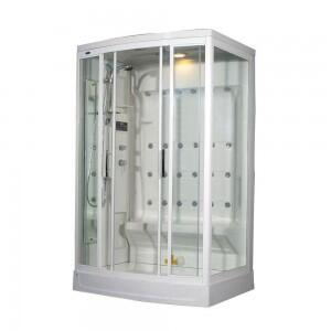 Ariel ZA219 Steam Shower with Rainfall Ceiling Shower, Handheld Showerhead, 24 Body Jets and Computer Control Panel with Timer