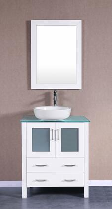 Bosconi Bosconi AW130BWLCWGX Single Vanity with Soft Closing Doors , Drawers,Glass Top, Faucet, Mirror in White and White Vessel Oval Ceramic Sink